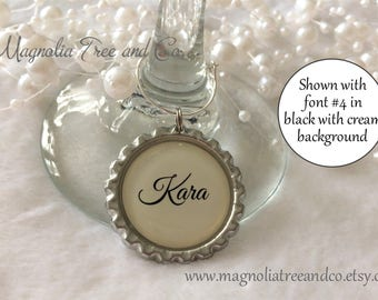 ONE WINE CHARM, Personalized Wine Charms, Bachelorette Party Favors, Wedding Favor, Hen Party, Custom Name, Wine Rings, Custom Text