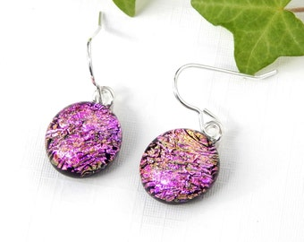 Pink Sparkle Dichroic Glass Dangle Earrings - Fused Glass Jewelry - Pink Art Glass Round Drop Earrings on 925 Sterling Silver Earwires