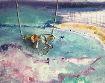 """Necklace Ammonite fossil , Aquamarine, eco-silver recycled silver and copper coated steel necklace. 20"""" chain pendant necklace"""