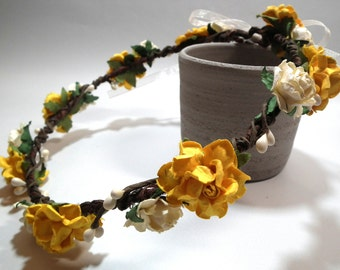 Yellow and White Rose Floral Crown/ Head Piece/ Traditional/ Bridal/ Wedding Hair Accessories/ Bridesmaid Hair Piece/ Wedding Flower Crown