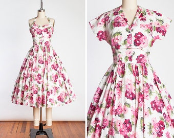 Vintage 1950s JONATHAN LOGAN New Look Floral Halter Dress with Matching Bolero // Pin Up //Bombshell