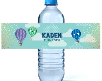 Up Up And Away Birthday Water Bottle Labels - Birthday Water Bottle Label - Personalized Water Bottle - Hot Air Balloons
