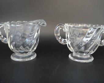 Vintage Fostoria Colony Clear Glass Sugar and Creamer Set - Mid Century Glass Creamer and Sugar