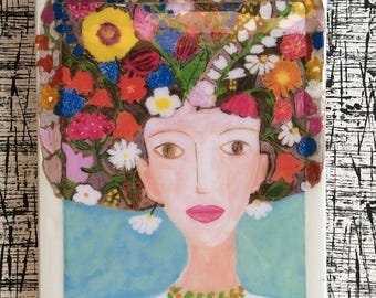 Handmade Mixed Medium Artwork on Plaster Tile / Decorative Tile / Modern Art / Painting / Portrait /Collage/ Flowers/Her name is Mariam