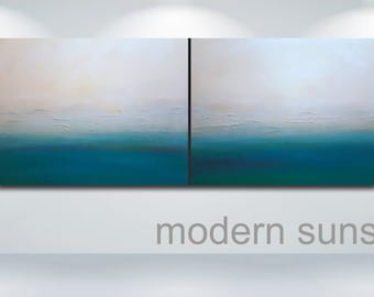 SOLD - (Commission Only) Large Wall Art Modern Sunset Abstract Art Painting - Original Contemporary Diptych - Blue Green White Ready-to-Hang