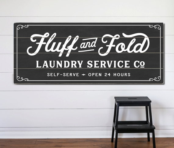 Fluff And Fold Laundry Service Co Planked Wood Or Canvas Sign
