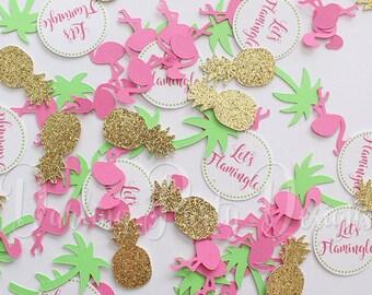 Flamingo Confetti, Let's Flamingle Confetti, Lets Flamingle Party Decor, Pineapple Confetti, 100 pieces