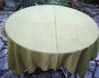 Olive green tablecloth, square tablecloth, vintage 70s tablecloth, cotton linen tablecloth