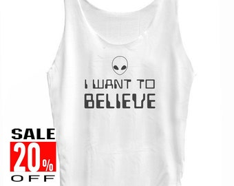 I want to believe tank top alien tank top women tank tops men tank tops teen girl singlet size S M L