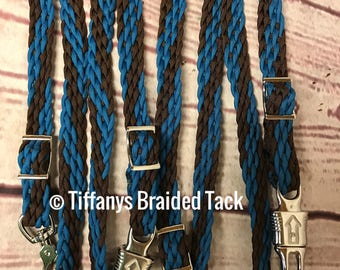 Cross ties, cross tie, barn cross ties, stable cross ties, paracord cross ties,  braided cross ties, horse cross ties, equestrian cross ties