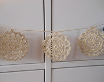 Crochet Garland Flower Wedding Garland Nursery Garland Home Decoration Beige
