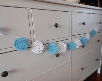 Crochet Garland Flower Wedding Garland Nursery Garland Home Decoration White and Blue