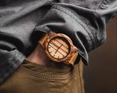 Husbands Gift Wood Watch, Minimalist Men's Zebrawood Watch, Brown Leather Strap Watch - BRLY-Z