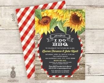 Floral Chalkboard I Do BBQ Couples Shower Invitations - Sun Flowers - Gingham - Picnic - BBQ - Summer - Wedding - Reception - Shower