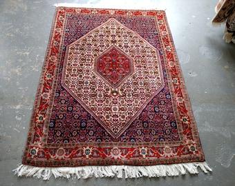 1980s Vintage Hand-Knotted Bijar Persian Rug (3598)