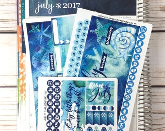 """July 2017 CALENDAR PAGES Kit, """"Caribbean Blue"""" July planner stickers kit fits Erin Condren Life Planners, Monthly Calendar Stickers"""