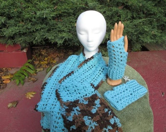 Crocheted Scarf and Fingerless Gloves Light Aqua