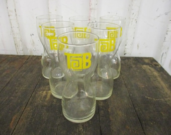 Set of 6 Vintage Enjoy TAB Hourglass Shape Glasses Coca Cola Tumbler