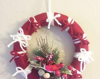 Christmas Wreaths, Yarn Wreaths, Decorative Wreaths for Home, Winter Wreath, Indoor Wreaths, Farmhouse Chic Decor, Shabby Chic Decor