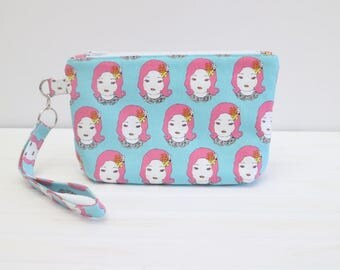 Sale* Kawaii Girls Small Zippered Wristlet Notions Pouch Small Cosmetics or Accessories Bag