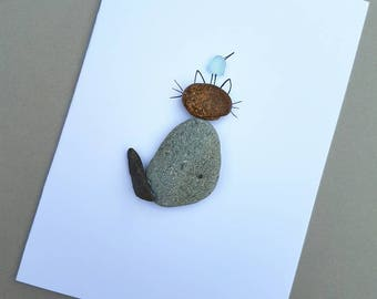 Cat Card, Animal Card, Cat and Bird, Pebble Cat, Pebble Card, Pebble Card, Birthday Card, Thank you Card,
