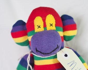 Bright stripe sock monkey, sock animal, soft plush toy monkey. Mike Monkey.