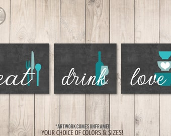 Kitchen Wall Art Print Set - Eat Drink Love - Charcoal Turquoise Teal Blue // Modern Kitchen Decor // Set of (3) Many Sizes // Unframed