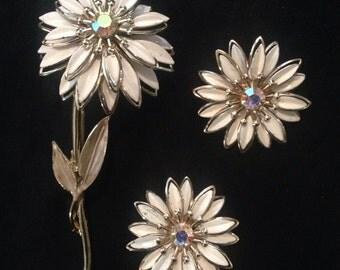 Vtg 60s Coro AB Crystal Enameled Brooch Set