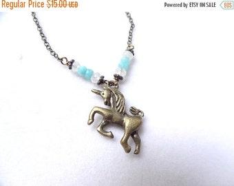 ON SALE Blue Amazonite and Moonstone Bronze Unicorn Pendant handmade Necklace with crystal bead charm