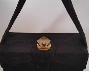 1940's Corde Purse Purse Vintage Black Box Purse 40's Boho Fabric Handbag 100% Rayon
