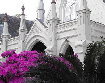 White Church in New Orleans Photo Gothic Arches Spires Pristine Pure White Hot Pink Azaleas Print