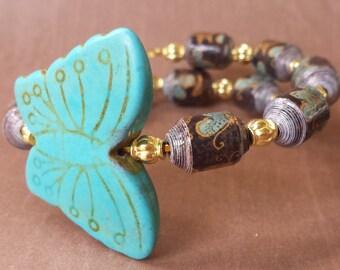 BEADED BRACELET, Wrap Bracelet, Beaded Wrap Bracelet, Butterfly Wrap Bracelet ,  Black and Gold Wrap Bracelet, Paper Bead Wrap Bracelet
