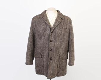 Vintage 50s PENNYS COAT / 1950s Brown Tweed Wool Winter Rockabilly Car Coat L