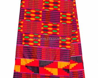 Kente cloth, Wholesale/ Kente print fabric/ Kente fabric/ Kente print / African fabric/ Red  6 yards  May KF290