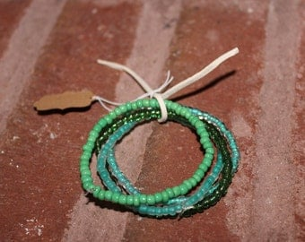 Green seed bead stack