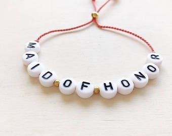 Maid of Honour bracelet, Letter beads bracelet, Natural silk string, choose between multiple silk colors