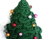 Green yarn crocheted and beaded decorated Christmas tree ornament