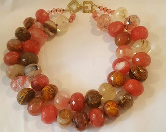 Vintage Pacini Lubel Gallery Hand Crafted Faceted Glass Bead Double Necklace with 14k Square Clasp