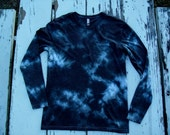 Long Sleeve Shirt // Black and Grey Marbled Tie Dye // Hand dyed // Low Immersion Dyed Shirt