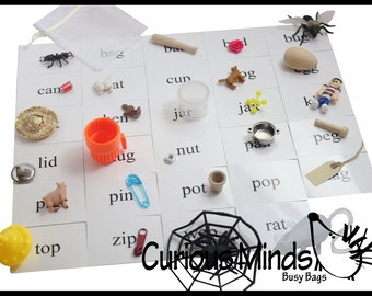 Montessori Alphabet Objects - CVC Word Mini Objects with Word Cards