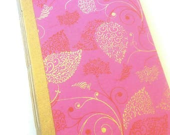 Pink, Gold and Red Floral, Junk Journal, Writing Journal, Photo Album, Wedding Guestbook, Dream Journal, Boho Journal, Baby Shower, Diary