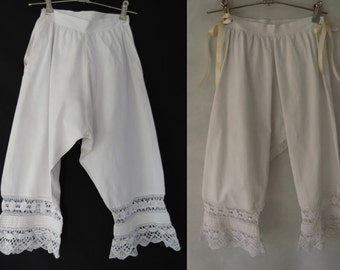 Antique Clothing, Underwear - Victorian Bloomers With Lace Edging - Romantic