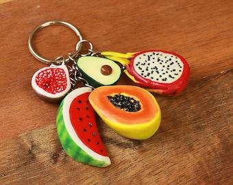 Tropical Fruit Keychain - avocado keychain, dragonfruit, watermelon, papaya, fig, fruit jewelry, food jewelry