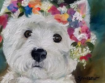 PRINT Westie West Highland Terrier Dog Puppy Art Flower Halo Spring / Mary Sparrow Smith