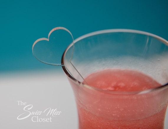 36 Heart Shaped Drink Stirrers, Wedding Engagement Bridal Shower Clear Laser Cut Wedding Decor Drink Stirrers Swizzle Sticks
