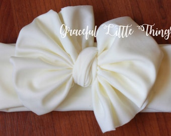 Cream Bow Headwrap