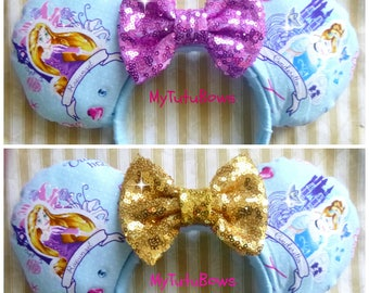 Minnie Mouse Ears Headband Blue Princess Fabric Ears with Gold Lilac Sequin Bow Fits Adults and Children Choose Your Own Bow Color Rapunzel