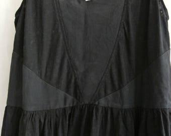 Ladies black drop waist sleeveless summer dress - cotton/silk panelled