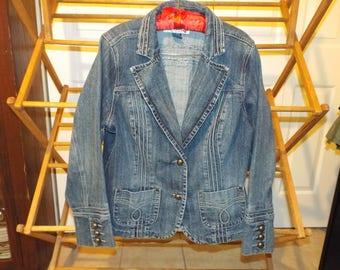 Vintage Denim Jean Jacket Bohemian Festival Hippie Style