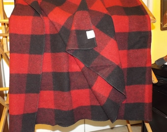 Vintage 90s Rustic Log Cabin Wool Blend Blanket Red and Black Woodland Home Decor Throw Blanket